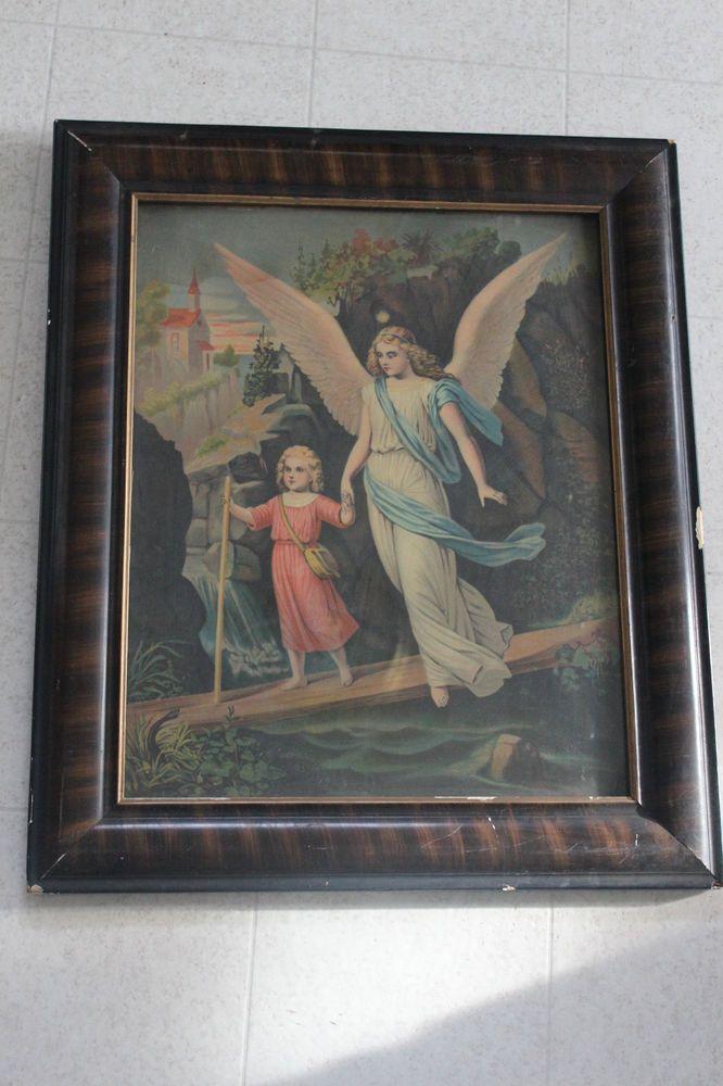 Antique Vintage Religious Guardian Angel Child Print