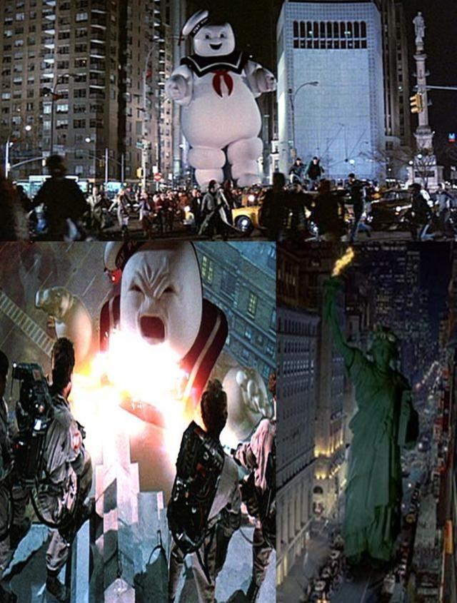 Ghostbusters (1984)Sin duda el Hombre de Malvavisco es uno de los más graciosos y temibles monstruos de todos los tiempos. No hay nada más aterrador que un enorme malvavisco con actitud. Después de verlo en una bolsa al principio de la cinta, después nos lo encontramos en el climax de Los Cazafantasmas siendo uno de los dos cuerpos físicos de Gozer, un dios que es derrotado cuando el Hombre de Malvavisco es destruido.