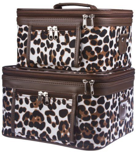 Two Animal Print Train Cases Cosmetic Makeup - Brown Large Patch by Private Label. $32.75. Size : Large (11 x 9 x 7 in.) Small (9.5 x 7.5 x 5.5 in.). Color: Brown White Black. Mirrors inside each train case. Material : Canvas. Adjustable Shoulder Strap Included. Complete with detachable and adjustable shoulder straps, interior mirrors, and outside zipper pockets for added convenience, this two piece train case is sure to please! Each solid, stand-alone case is ...