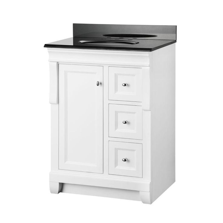 White Bathroom Vanity With Black Top | White vanity ...