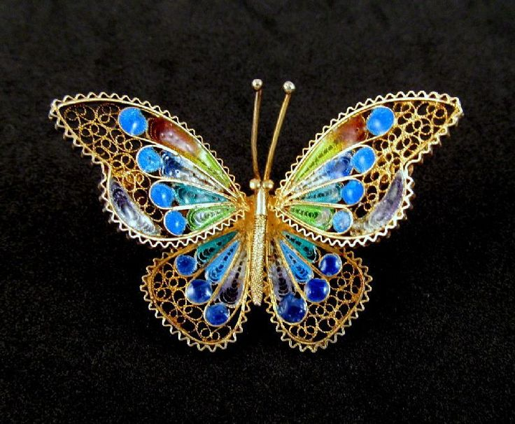 Plique a Jour Butterfly Brooch 800 Silver Lovely Colors