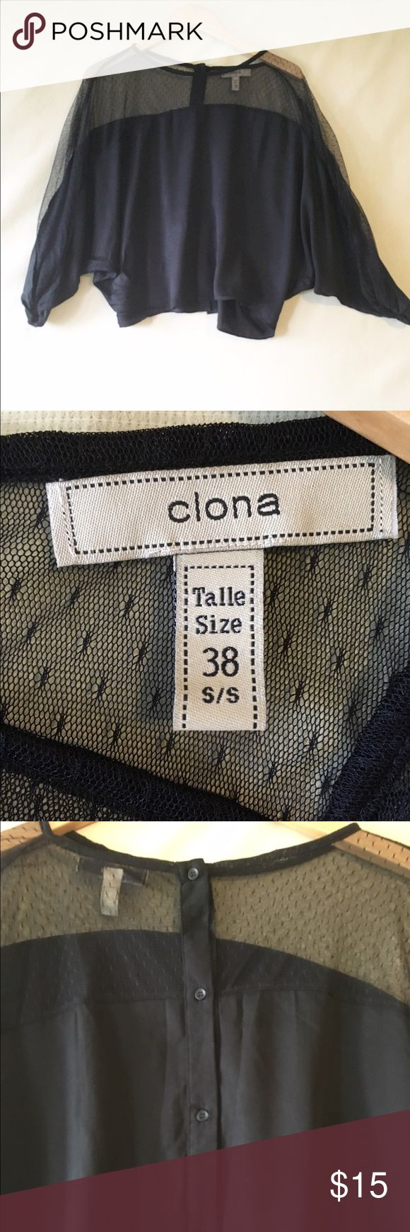 Clona brand Dolman style split sleeve top Women's size 8 top by Clona. Top features Dolman sleeves with split arms, the upper part of the top is lace with buttons going down the entire back. Top is in excellent condition, no signs of wear. Clona Tops