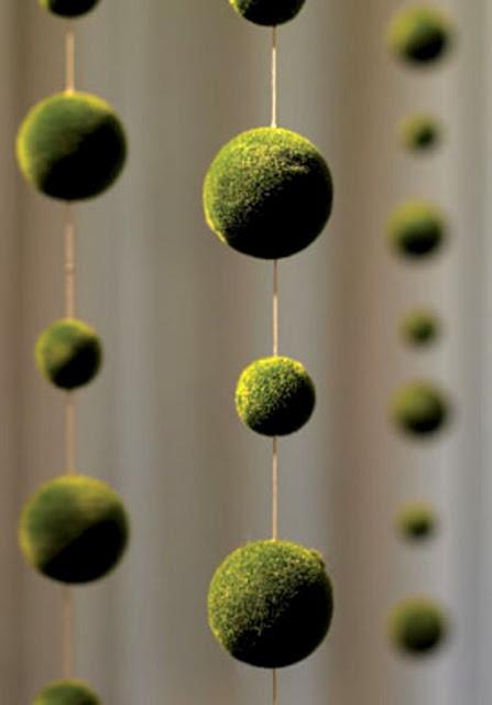 Moss covered styrofoam balls & jute.