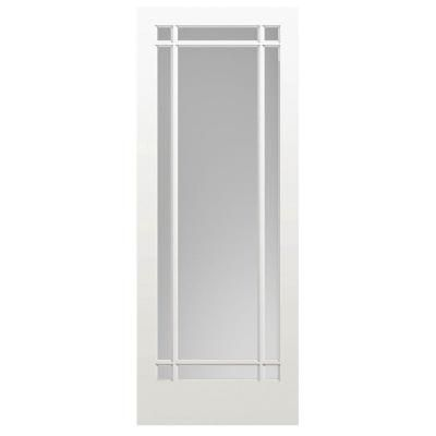 Masonite 30 In X 84 In Prairie Primed 9 Lite Solid Wood Interior Barn Door Slab Primed White