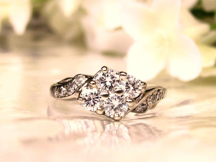 Vintage Engagement Ring 0.76ctw Diamond Cluster Swirl Design 14K White Gold Diamond Wedding Ring Vintage Anniversary Ring Size 7!