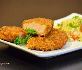 Parmesan Panko Pork Chops Recipe -- I added about a tablespoon of seasoned salt to the breading -- SO good!
