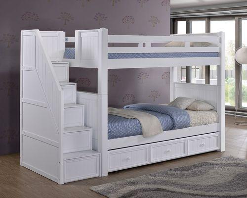 dillon white twin bunk bed with stairway storage - Etagenbetten Fr Teenager Jungen