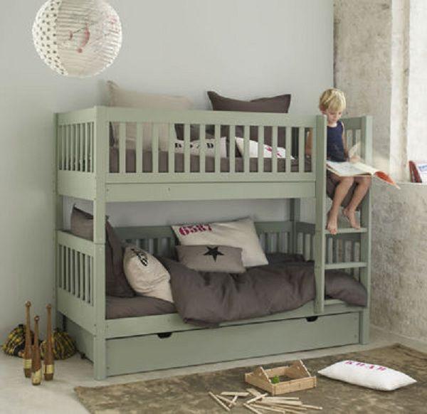 Lit superposé magnifique ! gray mint children's room, bunk bed, gender neutral