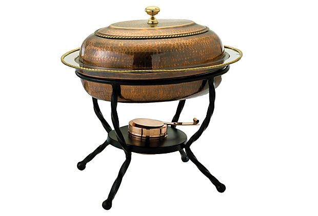 One Kings Lane - Gather Around - 6 Qt Oval Chafing Dish, Antique Copper