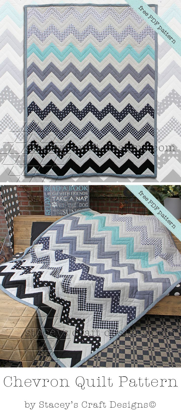Free baby bed quilt patterns - Free Chevron Quilt Pdf Pattern By Staceys Craft Designs