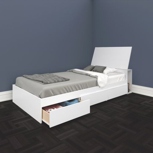 Traffic Contemporary Storage Bed Single White Beds