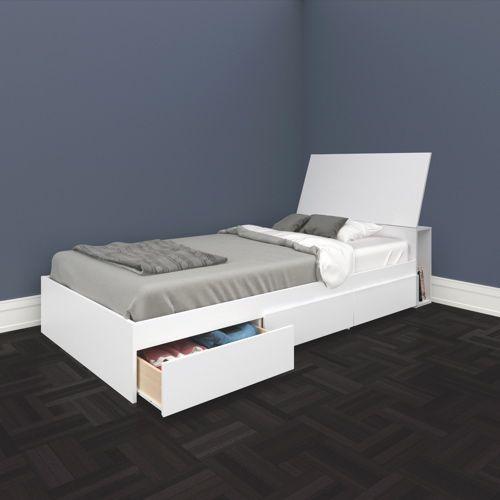 kids king single trundle bed modern whitewash design Bed