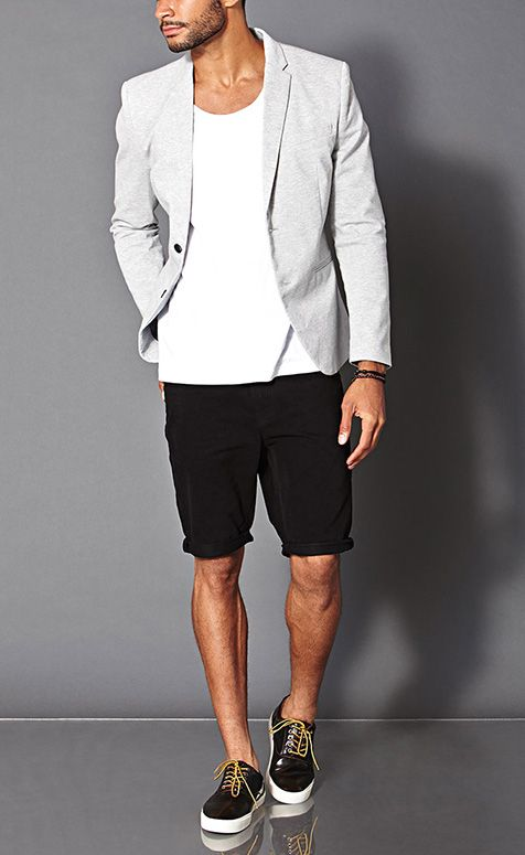 Grey Cotton Blazer, White Tee, Black Shorts and Black Patent Sneakers. Men's Spring Summer Fashion.