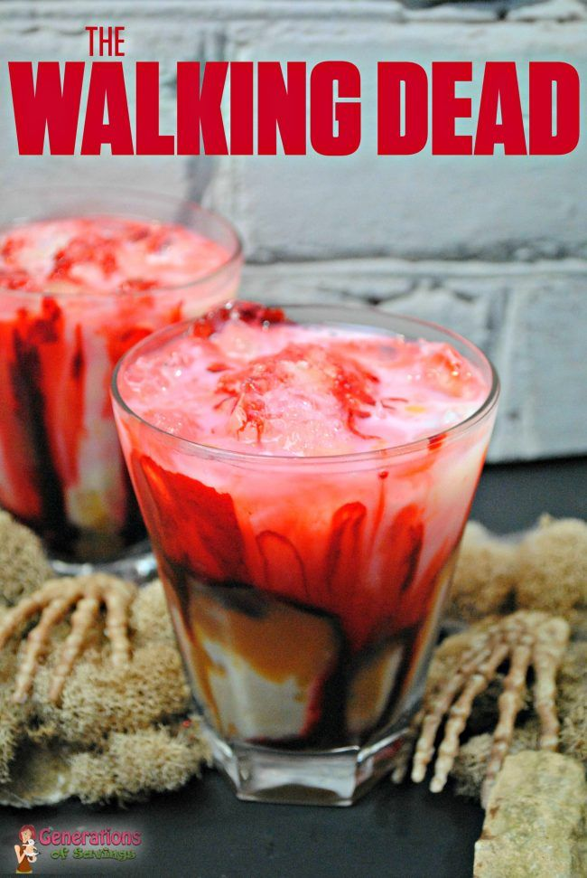 The Walking Dead Inspired Zombie Cocktail - Perfect for TWD viewing parties. Blood, guts, and gore but still super sweet alcoholic drink for Halloween!