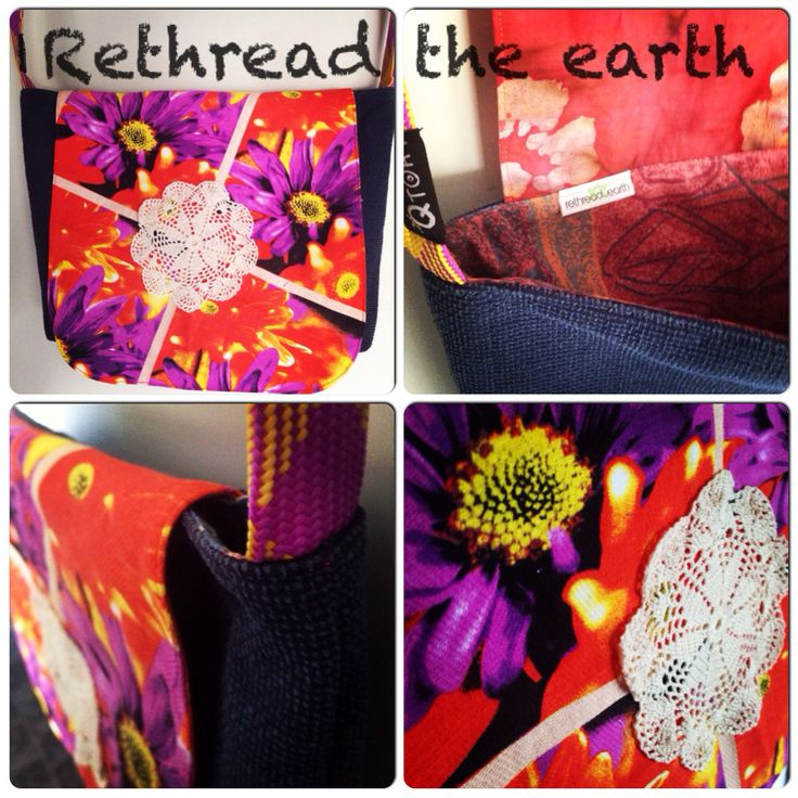 Upcycled messenger bag by rethread the earth.. Facebook.com/rethreadtheearthbyeiwozdesign