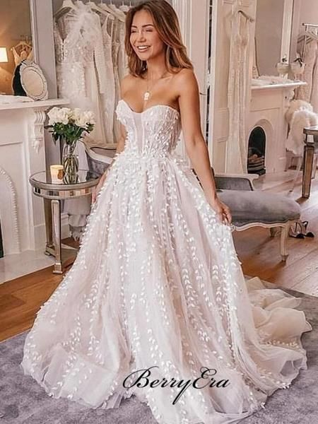 Strapless Lace A-line Wedding Dresses, Newest Popular Wedding Dresses