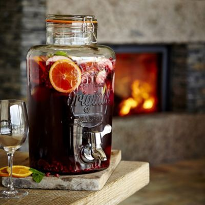 Mulled wine, served in a stylish Kilner drinks dispenser.