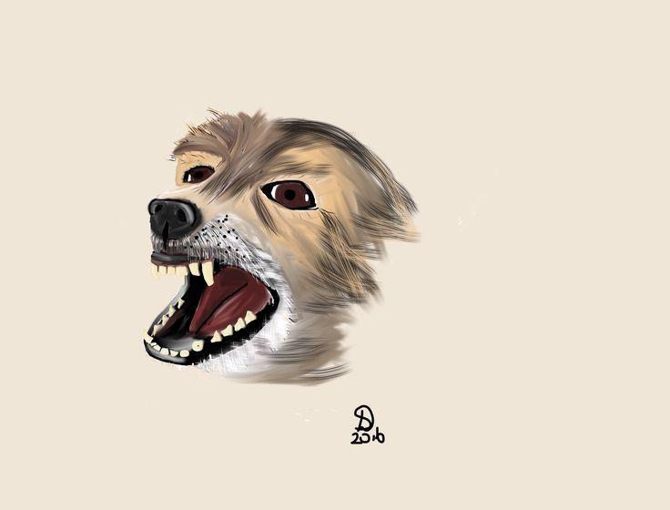 Blaffende hond, iPad tekening