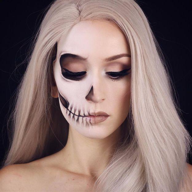 DIY Makeup Tutorials : Fading Half Skull | 10 Spooky Skeleton Makeup Ideas You Should Wear This Hallowe...  https://diypick.com/beauty/diy-makeup/diy-makeup-tutorials-fading-half-skull-10-spooky-skeleton-makeup-ideas-you-should-wear-this-hallowe/