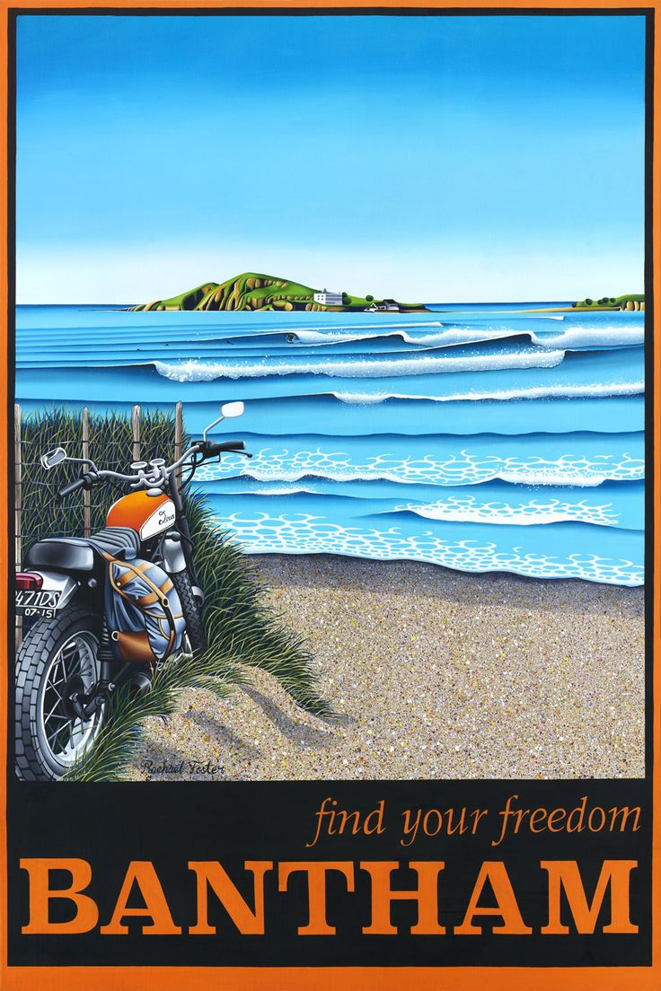 Bantham - Find your freedom! captures the economic crafting of mid-twentieth century travel marketing art while paying homage to postcard visions of both her native New Zealand and her new home in Devon, England.