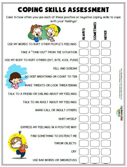 Anger Worksheets Kids School Social Work Coping