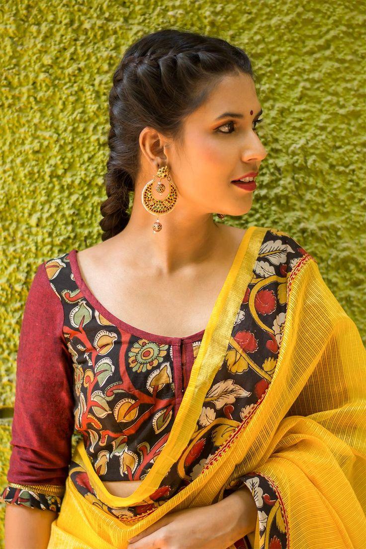 Black and maroon Kalamkari cotton blouse with frills on sleeves  #blouse #saree #houseofblouse #desi #indianwear #summer #marron #black #kalamkari #cotton #frill #sleeves