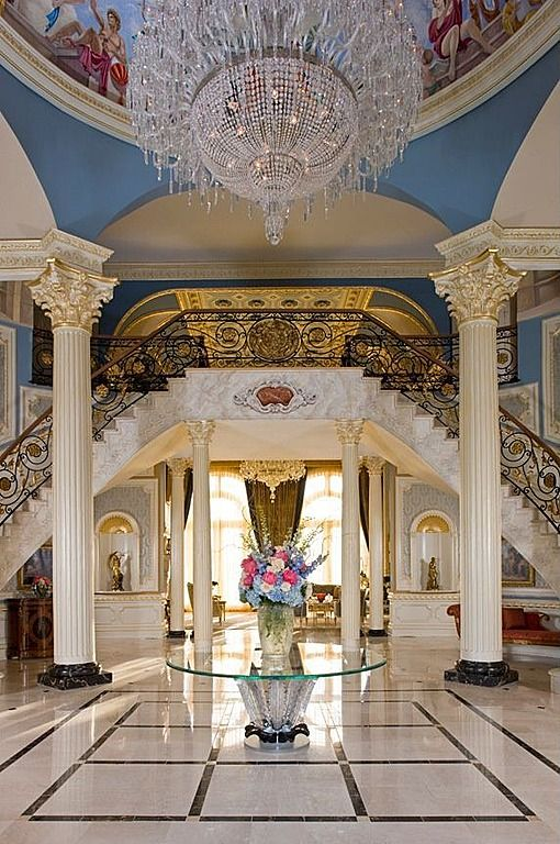 Grand Foyer Zara : Marble simple crown molding cathedral arched