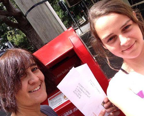 Nuria and Dalia at the post box