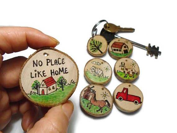 Farm Animals Keychain Farm Life  Home  Cottage Gift