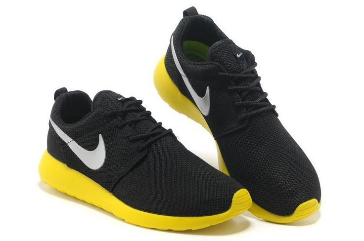 Nike Womens Roshe Run Black Yellow Silver Mesh 993