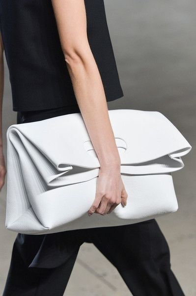 Oversized leather clutch bag, chic fashion details // Sally LaPointe Spring 2015 CUT OUT HANDLE DETAIL