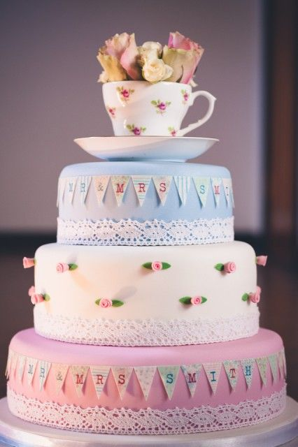 Vintage tea party wedding cake. Shabby Chic Garden Outdoor Wedding!  #weddingcake #teatimecake #uniqueweddingcake