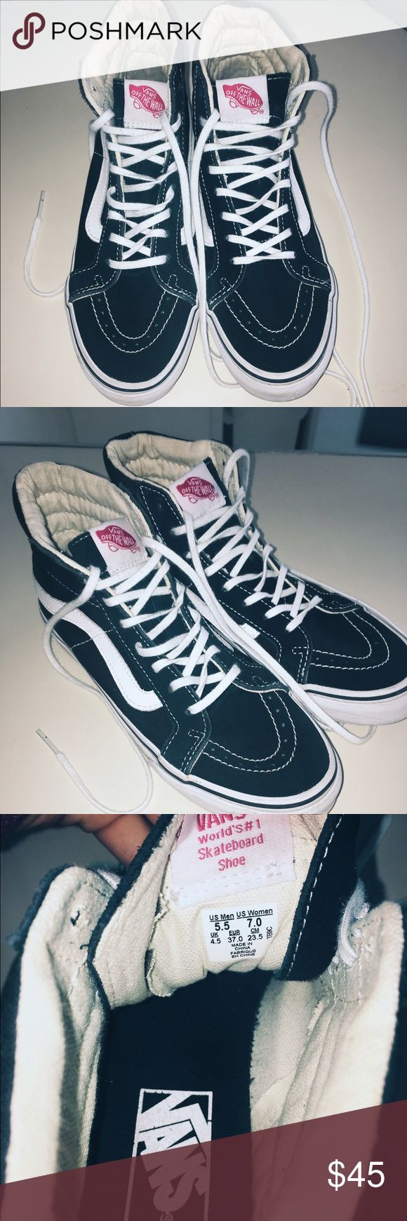 High top size 7 vans Black and white classic skate high vans woman's size 7 worn once. Looking to sell or trade for the version of these that aren't high tops Vans Shoes Sneakers