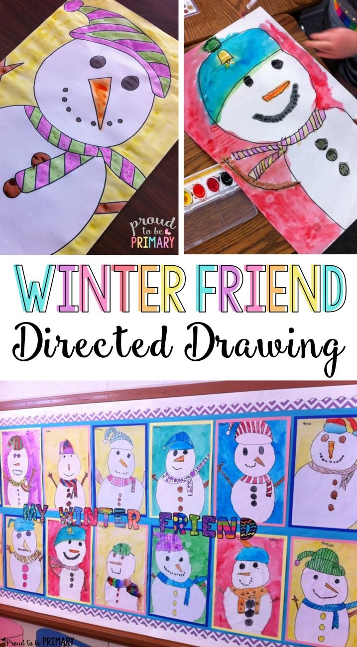 Do you love teaching directed drawings in your primary classroom? Kids will LOVE the winter friend snowman directed drawing art activity. Decorate your classroom walls with Frosty and his friends this winter! via @proud2beprimary