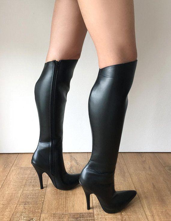 RTBU Ace Hard Shaft Knee Boots 12cm Stiletto Vegan Personalized Shaft Black  Matte e93f1b10fedf