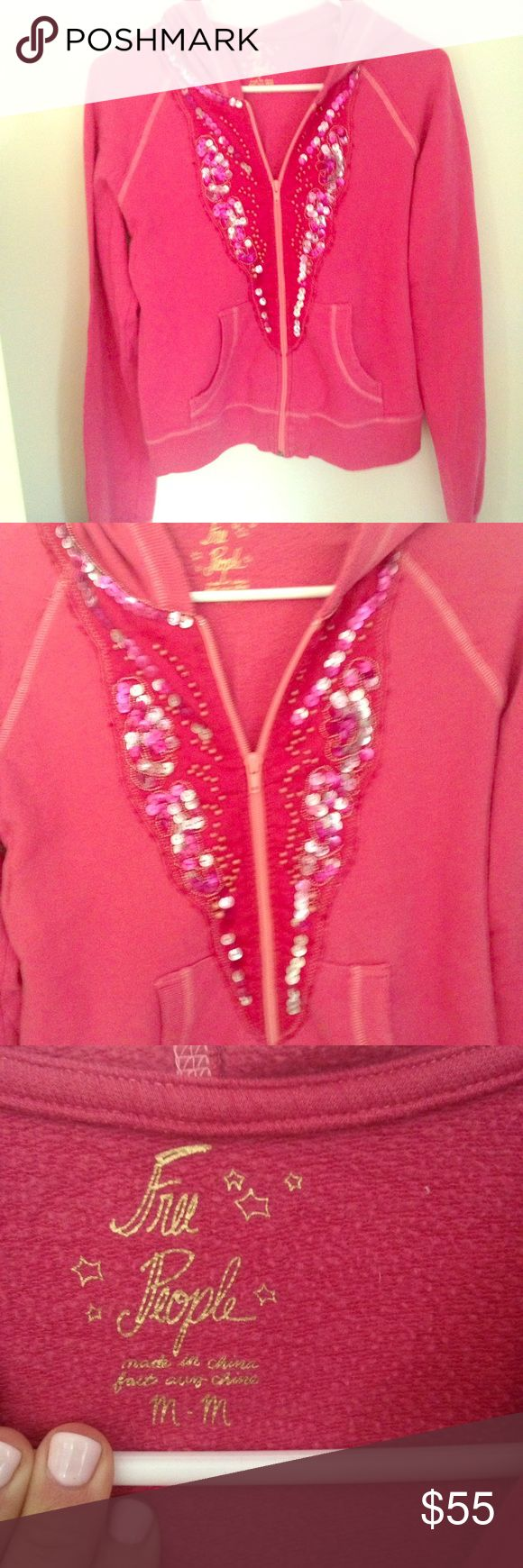 Free People ✌️SALE☮️ Zip Up Sweatshirt Free People hot pink zip up hoodie with sequins and beads. Size Medium. Great condition only worn a few times. Free People Tops Sweatshirts & Hoodies