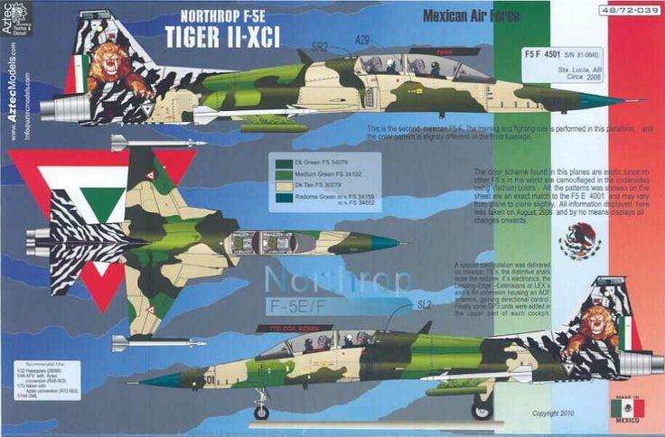 Mexican Air Force Aztec Decals 1 72 Northrop F 5e Tiger