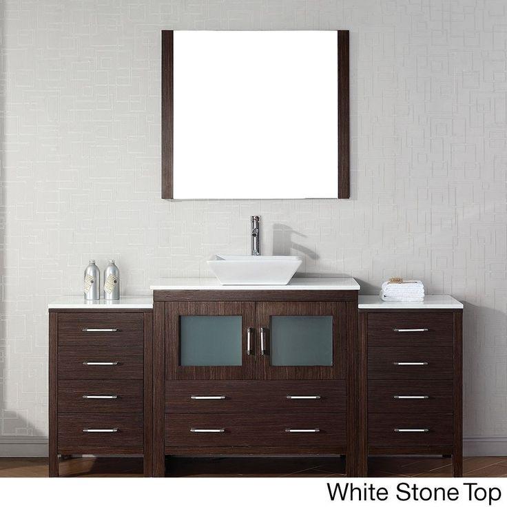 Virtu USA Dior 72 inch Single Sink Vanity Set in Espresso (Dior 72 inch in espresso w/ pure white stone top), Brown, Size Single Vanities