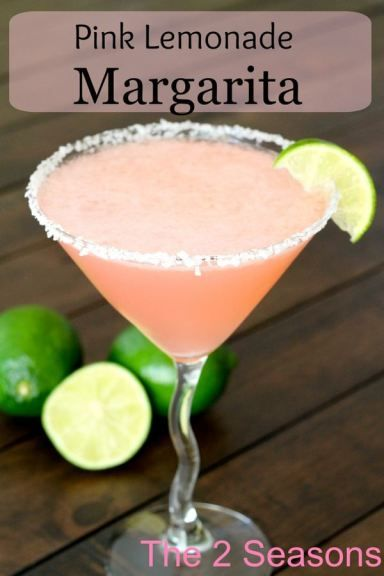 Pink Lemonade Margarita- looks like a great cocktail recipe to make for a girlfriends book club or party!