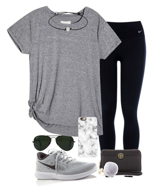 """I really struggle with layouts"" by valerienwashington on Polyvore featuring NIKE, Ray-Ban, Casetify and Tory Burch"
