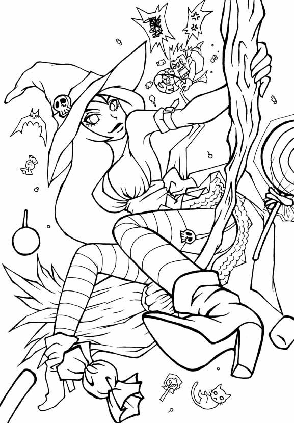 HALLOWEEN WITCH LINEART