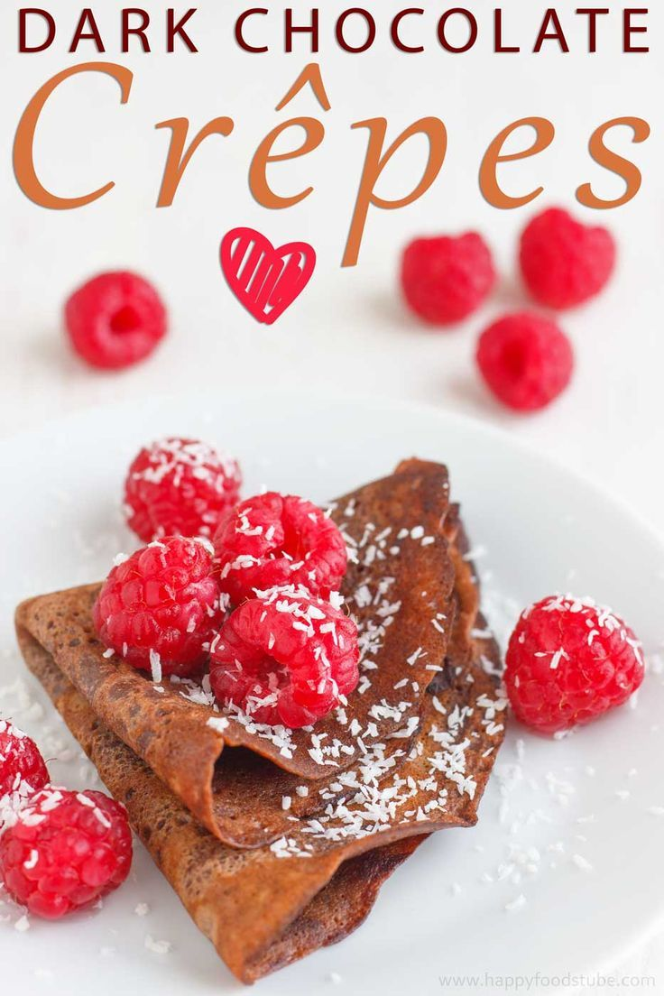 """Dark Chocolate Crêpes And Pancake DayPancake Day is almost here and we are in a """"Pancake mood"""". Here is one super easy recipe: http://www.happyfoodstube.com/dark-chocolate-crepes-and-pancake-day #pancake #crepes #recipe #chocolate"""