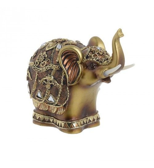 POLYRESIN ELEPHANT IN GOLDEN_ BRASS COLOR 14X8X13
