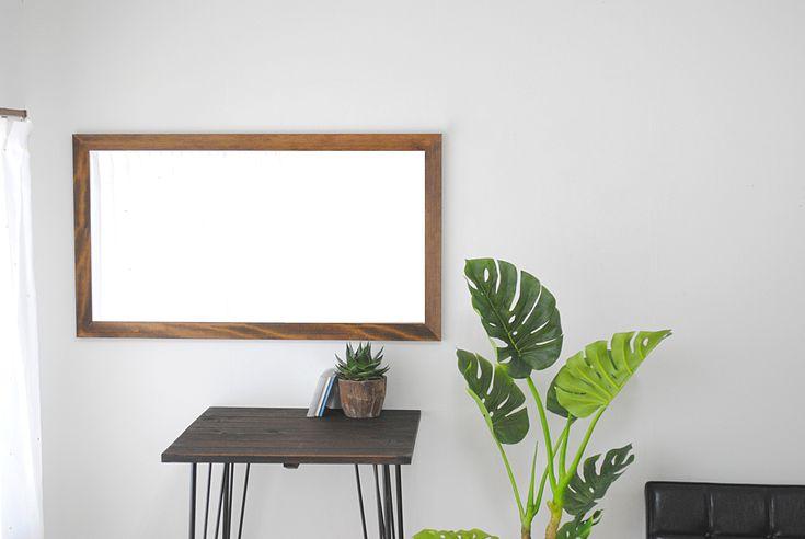 Leon レオンミラー ウォールミラー  壁掛け 全身 鏡 アンティーク調 天然木 日本製 ブラウン W600×1080