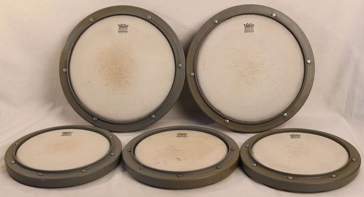 "REMO Practice Pads Weather King Drums Percussion 8"" & 10"" Lot of 5 #RemoPracticePads"