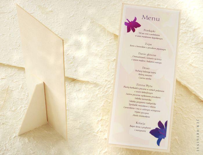 Karta układana pionowo, podpierana otwieraną stopką. / The menu is laid vertically, supported opening footer.