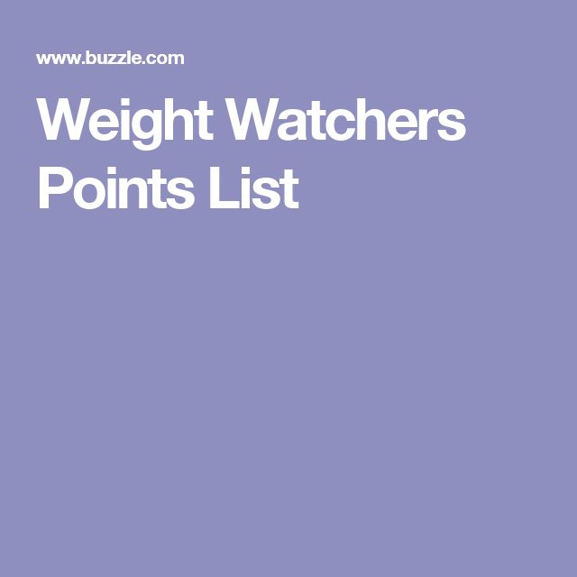 Weight Watchers Points List