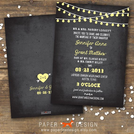 Wedding Invitation  String of Lights Chalkboard  par PaperFoxDesign, $15.00