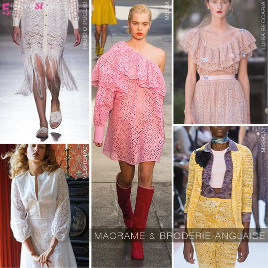 Macramé and broderie anglaise trend at Milan SS18 @5forecastore trend report