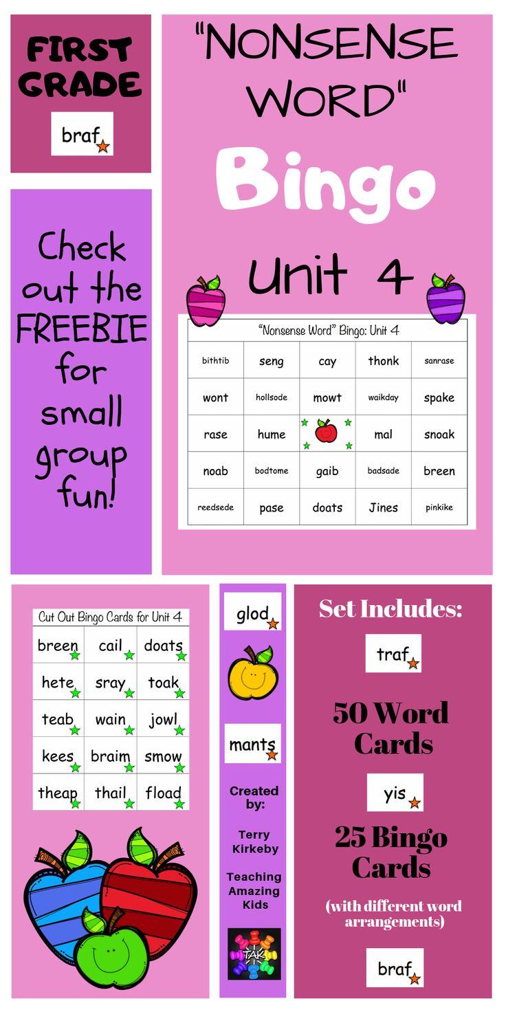 "1st Grade Journeys ""Nonsense Word"" Bingo Unit 4"